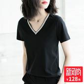 小心机短袖 2018新款 纯棉体恤 v领上衣修身 黑色t恤女夏装 一秒出彩