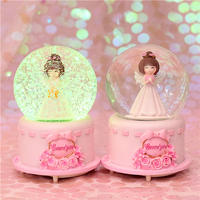 KT cat snowflake rotating girl heart music box crystal ball music box to send female birthday gift girl children gift