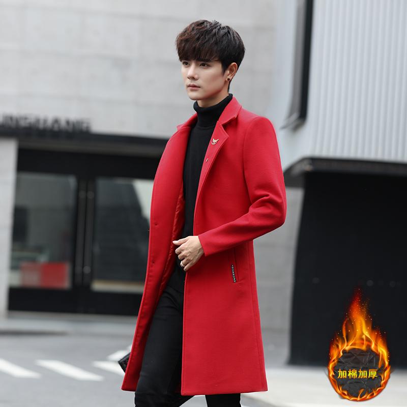 红色大衣外套 前任3余飞孟云郑凯韩庚男柒个我沈亦臻张一山同款