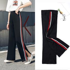 坠感阔腿裤女显瘦开叉长裤宽松高腰垂感黑色直筒西装薄款夏季裤子图片