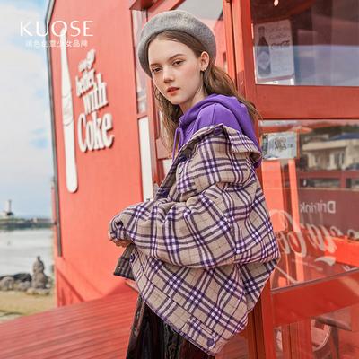 阔色2018秋季新款韩版女装学生小个子宽松格子短款薄毛呢外套