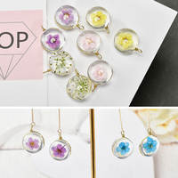 With hanging copper wire round crystal dried flower starry five-leaf flower glass ball diy earrings material accessories