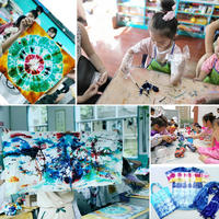 Children's tie-dye set tool diy dye paint scarf cloth school student art handmade material package