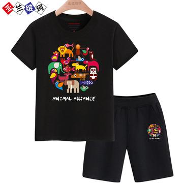 男童套装夏装2018夏季新款儿童中大童纯棉短袖T恤学生休闲运动服