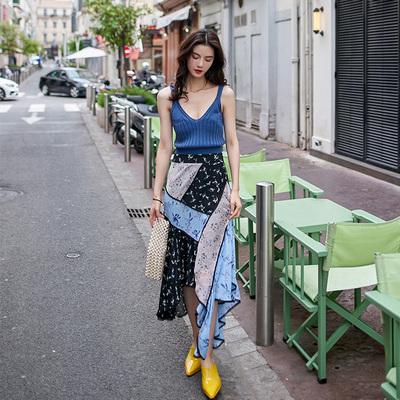 VIMI原创设计夏日夜空半裙2019春季新品星空撞色高腰修身不规则裙
