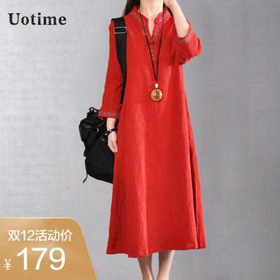 Uotime2018秋季新款韩版大码女装纯色V领长袖中长款棉麻连衣裙女