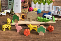 Children's educational early education wooden forest animal seesaw balance beam Jenga building blocks baby balance toy