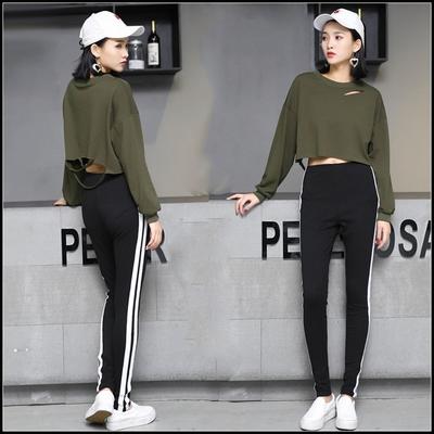 韩版短款长袖t恤女宽松性感爵士舞服装露脐上衣学生百搭高腰漏肚