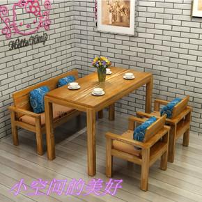 漫咖啡桌椅做旧复古实木饭店餐桌酒吧面馆餐厅小吃餐馆会所卡座椅