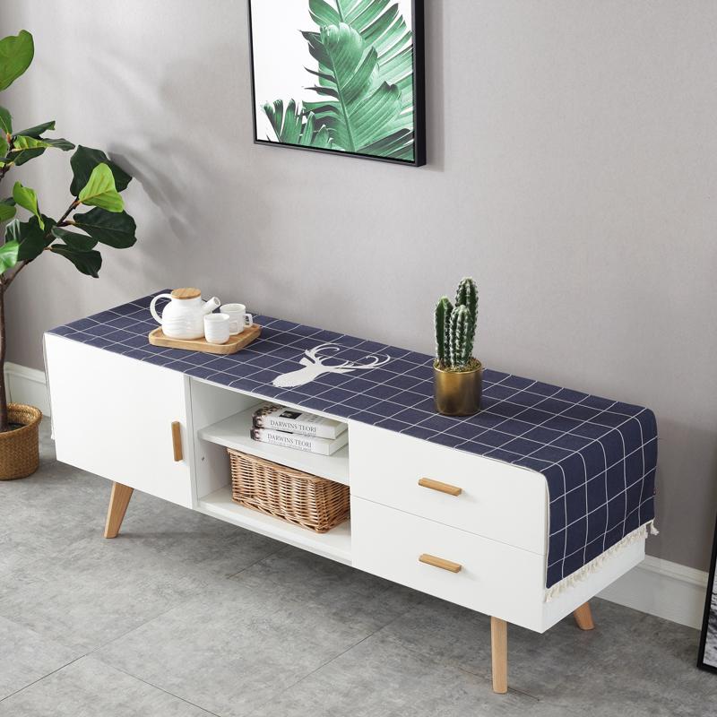 北欧风棉麻小清新茶几桌布长桌布电视机柜防尘盖布鞋柜斗柜盖布