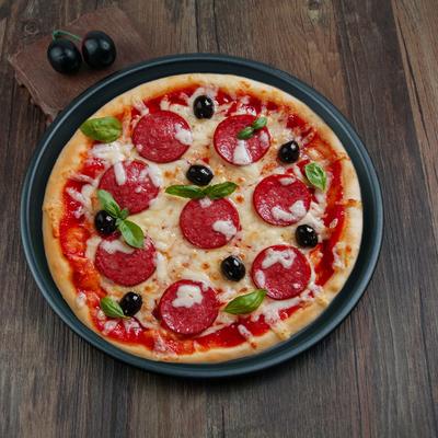 加厚双面不粘碳钢9/10/11/12寸家用披萨盘 pizza 烤盘 烘焙模具