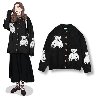 DAFA研究所 韩版慵懒学院风百搭宽松可爱小熊开衫加厚毛衣女外套