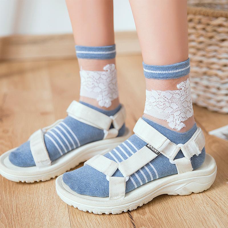 3双装袜子女春季薄款玻璃丝女袜蕾丝条纹女士中筒袜日系卡丝袜棉