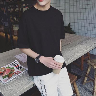 秋季衣服日系7七分袖文艺宽松短袖男T恤潮流5五分袖中袖半袖上衣