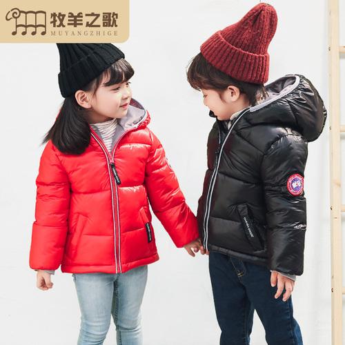 冬装儿童羽绒服女童加厚童装反季中小童男童宝宝短款白鸭绒外套潮