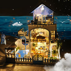 Diy cottage Aegean creative birthday gift handmade assembling model villa toy house