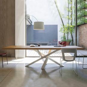 创意家具铁艺实木工作台小型会议桌长桌简约餐桌洽谈办公桌易简居