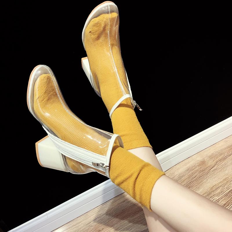 网红凉鞋2018新款女夏季ins同款凉靴欧美性感短靴粗跟透明高跟鞋