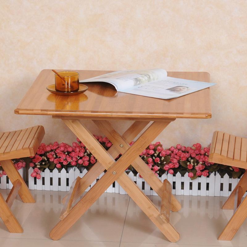 楠竹可折叠桌方桌简易餐桌休闲便携圆桌饭桌竹木小户型折叠学习桌