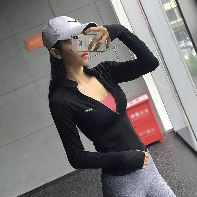 秋冬半拉链健身服女跑步运动上衣紧身速干长袖显瘦瑜伽弹力T恤衫