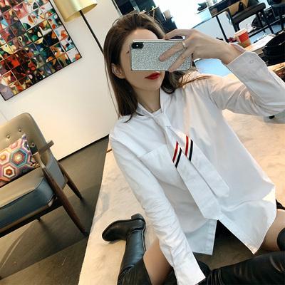 早安樊樊 中长款女生领带网红白衬衫女长袖秋冬帅气设计感上衣