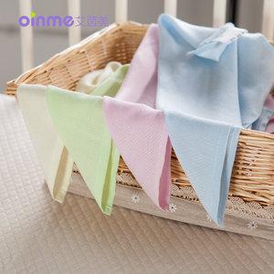 艾茵美竹纤维多功能夏凉枕巾婴儿小方巾宝宝口水巾洗脸毛巾3条装