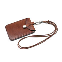Japan and South Korea vegetable tanned leather card bag hanging neck rope retro card sets leather bus card bag portable purse small wallet tide