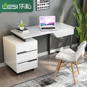 现代简约书桌书柜组合白色烤漆写字台电脑桌小户型书房办公桌家具