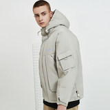 2019 winter new trend handsome explosion section thick tide brand tooling down jacket men's tide short hooded bread service