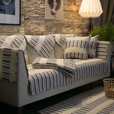 纯棉四季通用沙发垫布艺美式简约现代客厅全包萬能沙发套巾罩垫子
