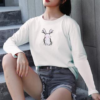 白色t恤女长袖体女装潮春秋装2019新款宽松大版薄纯棉休闲打底衫