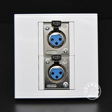 86型双母卡农插座2个卡侬面板大三芯话筒插座KTV麦克风话筒墙插