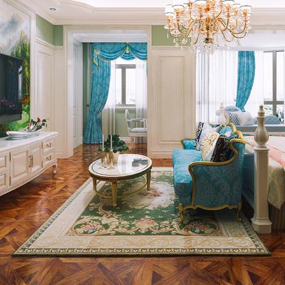 欧式美式法式新古典针织花卉几客厅卧室地毯地垫绿色花卉