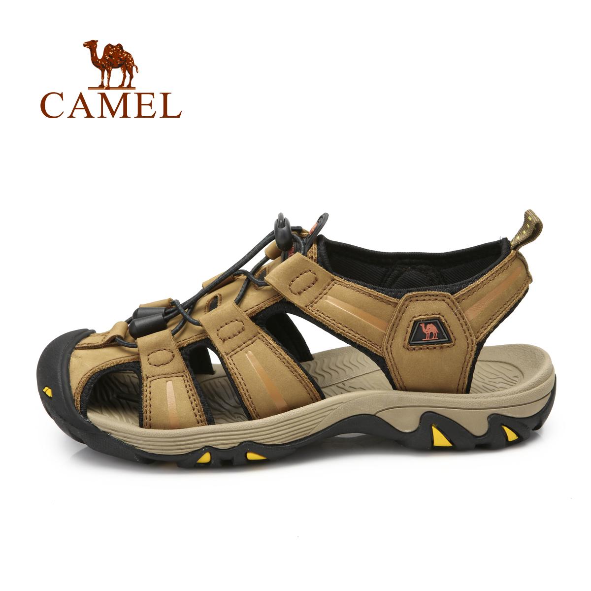 駱駝戶外沙灘鞋 男女春夏頭層牛皮防撞耐磨涼鞋