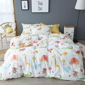 韩式清新卡通全棉床单四件套1.5m1.8m床笠床上用品学生宿舍三件套