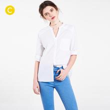 cachecache女士商务成熟纽扣纯色口袋通勤风百搭九分袖 POLO领衬衫