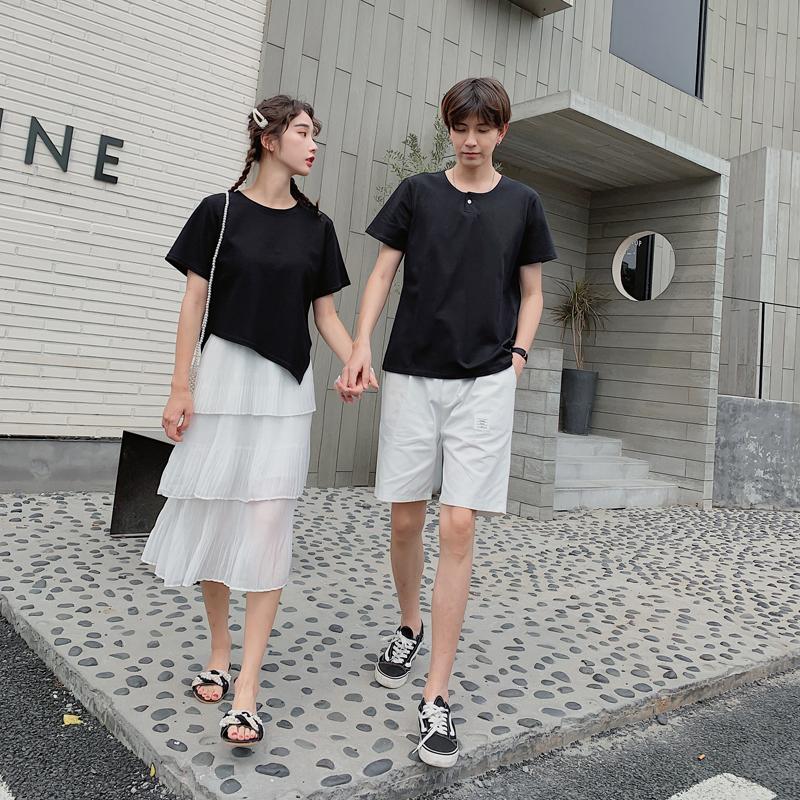 不一样的情侣装夏天套装 小众设计ins超火一套两件套潮流蛋糕裙子