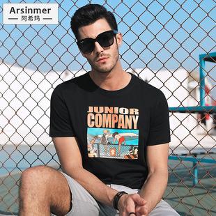 男士短袖t恤2019新款夏季純棉男生潮牌潮流體恤半袖上衣百搭夏裝