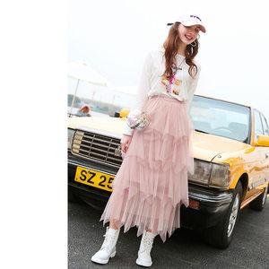 ZK粉色网纱蛋糕裙半身裙中长款高腰A字仙女裙蓬蓬裙2019春新款女