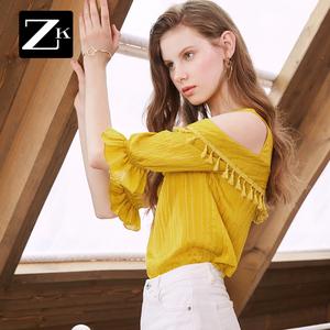 图片:ZK露肩流苏雪纺衫衬衫遮肚子短袖宽松超仙chic衬衣漏肩上衣夏新款