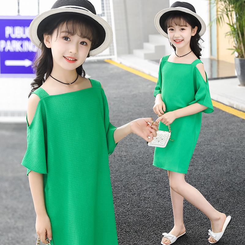 童装2018夏季新款韩版女童连衣裙中大童短袖露肩公主休闲雪纺裙子