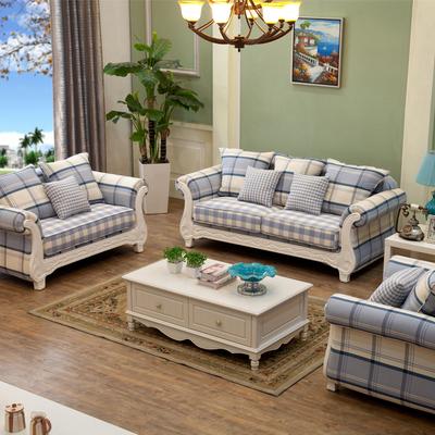 美式乡村田园布艺沙发u型地中海格子客厅实木小户型布沙发123组合网上专卖店