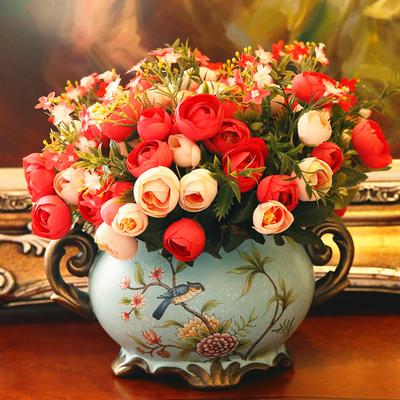 欧式田园复古彩绘陶瓷花瓶花艺美式乡村客厅装饰摆件干花插花器