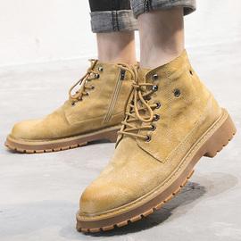 夏季马丁靴男士中帮拉链英伦潮流百搭靴子高帮工装鞋夏天透气短靴图片