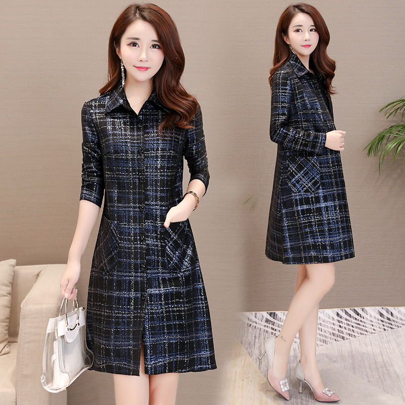 2018 spring and autumn new fashion casual long section lattice windbreaker coat 30