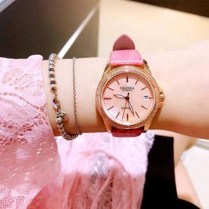 卡罗莱女表正品机械表女士手表防水时尚款女2018新款皮带简约腕表