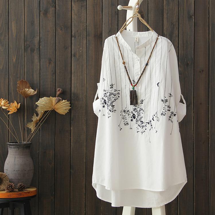 刺绣韩版长衬衫