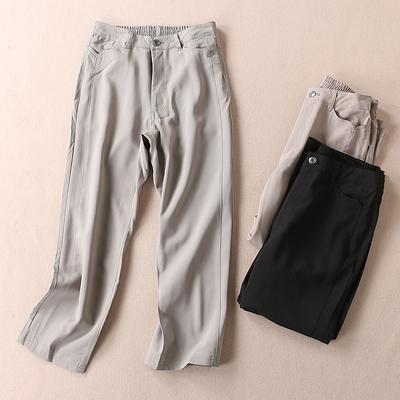 日本单提花工艺 小方格子 春季气质显瘦直筒休闲裤女 WB3169
