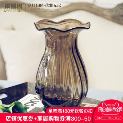 阑珊树-小号马蹄莲口浮雕玻璃花瓶 新古典欧式客厅手工装饰花器
