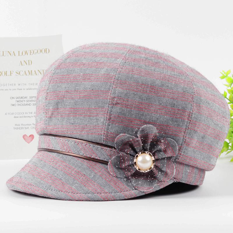 春秋天老年人帽子女薄款鸭舌帽妈妈贝雷帽夏中老年时装帽奶奶布帽